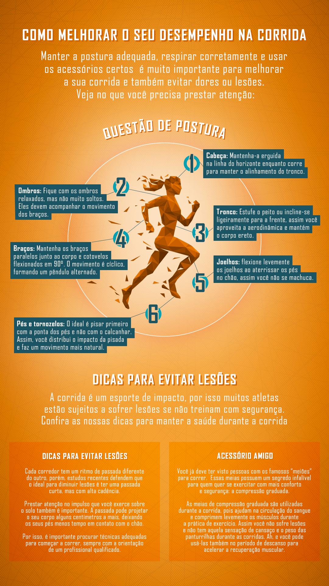 Infográfico com técnicas de corrida para melhorar o rendimento no esporte e evitar lesões